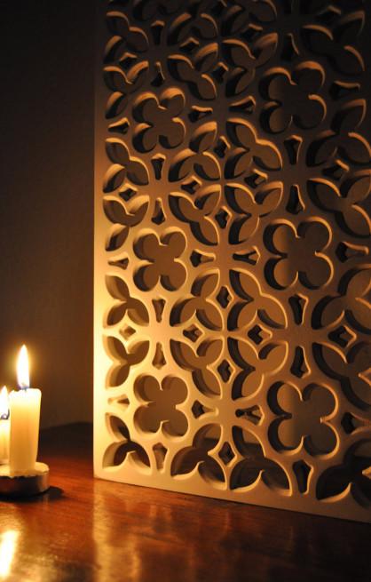 celosia de madera en estilo clásico gótico, para paneles separadores de ambientes
