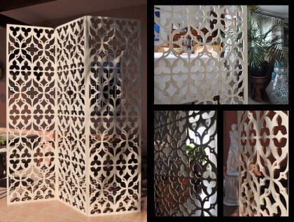 Separadores de ambientes tipo biombo, con paneles de celosias de madera, con un estilo clásico y acabado pintado en tinte y barniz