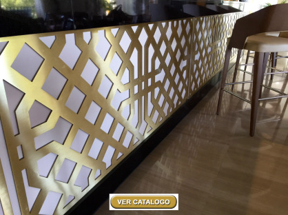 celosias metálicas de aluminio y latón para restaurantes