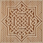 pieza tallada en madera estilo arabesco