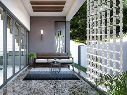separacion de ambientes en terraza y jardin